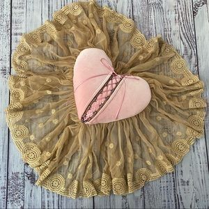 Sweet Lace and Velvet Pink Heart Accent Pillow